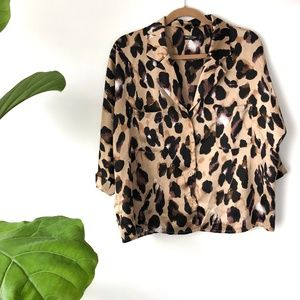 NASTY GAL Leopard print satin shirt/blouse